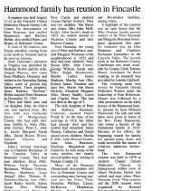 "Image of Newspaper article titled ""Hammond Family Has Reunion in Fincastle"" - 2009.1.542"