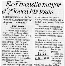 "Image of Newspaper article titled ""Ex-Fincastle Mayor Loved His City"" - 2009.1.545"