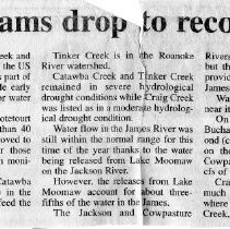 "Image of Newspaper article titled ""County's Major Streams Drop to Record Low Flows in June"" - 2009.1.550"