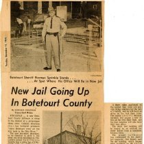 """Image of Newspaper article titled """"New Jail Going Up in Botetourt County"""" - 2009.1.555"""