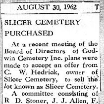 "Image of Newspaper article titled ""Slicer Cemetery Purchased"" - 2009.1.678"
