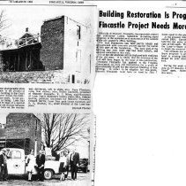 "Image of Newspaper article titled ""Building Restoration is Progressing; Fincastle Project Needs More Funds"" - 2009.1.691"