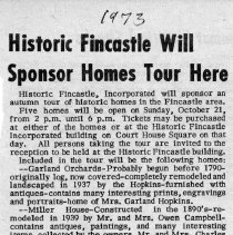 "Image of Newspaper article titled ""Historic Fincastle Will Sponsor Homes Tour Here"" - 2009.1.697"