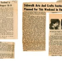 "Image of Newspaper articles titled ""Fincastle Festival Is Planned Aug. 18-19"" and ""Sidewalk Arts and Crafts Festival Planned for This Weekend in Fincastle"" - 2009.1.702"