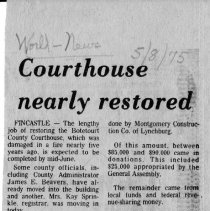 "Image of Newspaper article titled ""Courthouse Nearly Restored"" - 2009.1.704"