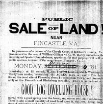 Image of Advertisement for the Sale of Land and a Log Dwelling - 2009.1.721