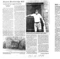 """Image of Newspaper article titled """"Historic Breckinridge Mill Restored As Apartments"""" - 2009.1.724"""