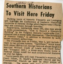 "Image of ""Southern Historians to Visit Here Friday"" and ""Southern Historians Take Tour of Historic Fincastle, Comment on Potential for Development of Local Sites"" - 2009.1.108"