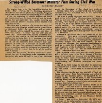"Image of Newspaper article titled ""Strong-Willed Botetourt Minister Firm During Civil War"" - 2009.1.274"