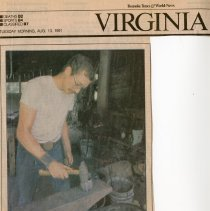 """Image of Newspaper article titled """"Money, Time Running Out for Fincastle's Blacksmith"""" - 2009.1.419"""