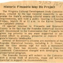"Image of Newspaper article titled ""Historic Fincastle May Be Project"" - 2009.1.651"