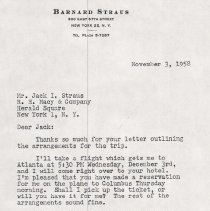 Image of Letter from Jack I. Struas to Bernard Struas