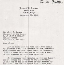 """Image of """"Letter to Jack I. Straus from Robert H. Jordan"""""""