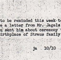 Image of Note from JA to Jack Straus