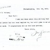 Image of Letter: J. Wanamaker to I. Straus (1881)