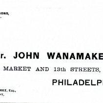 Image of Envelope to John Wanamaker