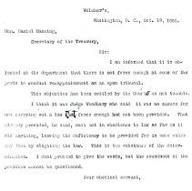 Image of Letter to Daniel Manning, Oct. 1885
