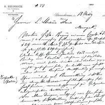 Image of Letter: Heinrich to L. Straus and Sons (1885) 6 pages