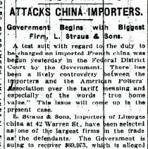 "Image of ""Attacks China Importers Government Begins With biggest Firm, L. Straus & Sons"" - L.S&S041.001"