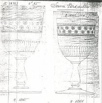 Image of Sketches of different patterns of Bacarrat Stemmed Cut Glass Goblets - L.S&S062.021