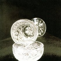 Image of Two L. Straus & Sons Stemmed Cut Glass Goblets in Unique Pattern