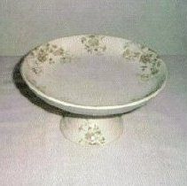 Image of L. Straus & Sons Pedestal Dish, Vitrified China, England, Aline Pattern - L.S&S064.015