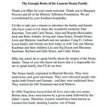 "Image of ""The Georgia Roots of the Lazarus Straus Family."" Speech. Joan Adler. Undat"