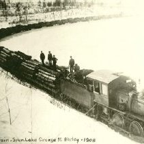 Image of Logging train spur - Logging train spur, Lake George to Akeley, 1908