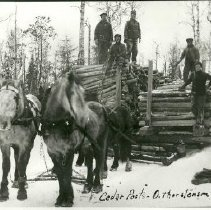 Image of Hauling cedar poles for Oscar Thorstenson - Hauling cedar poles for Oscar Thorstenson, logging, 1912. Horse team with 5 loggers