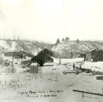 Image of Logging camp scene, Mississippi River source area