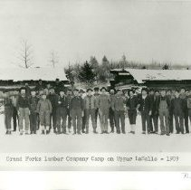Image of Grand Forks Lumber Company Camp - Grand Forks Lumber Company, group of loggers in logging camp on Upper LaSalle, 1909