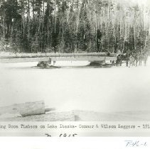 Image of Hauling Boom Logs on Lake Itasca - Hauling Boom Logs on Lake Itasca, Connor & Wilson loggers, 1915