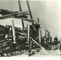 Image of Crookston Jammer and Bunch Chains Loading Logs - Crookston Lumber Company jammer and bunch chain loading logs near Hines, 1910. W.E. Rice - scaler.