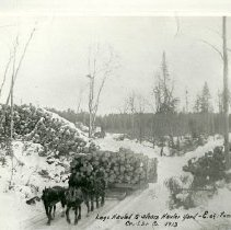 Image of Logs Being Hauled to Steam Hauler Yard - Logs being hauled to Steam Hauler yard by horse team and logger, east of Funkley, Crookston Lumber Company, 1913