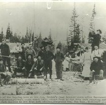 Image of J.A. Irvine Camp Crew - Logging crew, J.A. Irvine's camp #8 near Blackduck, 1905. Albert Sapp is standing second from left, and Eli Park Squires is sitting third from left.