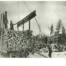 Image of National Pole Company Loading Logs - National Pole Company, Blackduck, 1905. loading logs