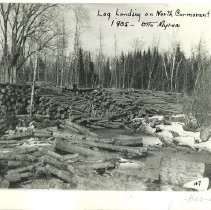 Image of North Cormorant River Log Landing - North Cormorant River log landing, 1905, Otto Myren
