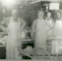Image of Interior of logging camp's lumberjack dining hall - Interior of logging camp's lumberjack dining hall, 1904.