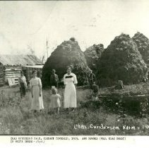 Image of Ann Bowers at Charles Gunderson Farm - Charles Gunderson farm, Cormant township, 1905. Ann Bowers ( Mrs. Charles Berry) in foreground on the right