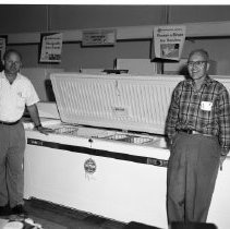 Image of Naylor Electric - Possibly Naylor Electric. Jack Naylor and Bennie ?. Freezers, appliance area. June 1960