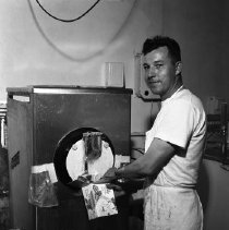 Image of Red Cap Dairy, Bemidji Milk Co., 1960 - Red Cap Dairy, John Larsen, Butter Pecan Ice Cream Carton, Bemidji Milk Co., 2nd St., Bemidji. June 1960