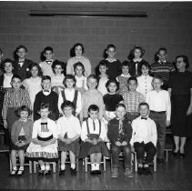 Image of J.W. Smith School Class, 4th Grade Class - J. W. Smith School, Bemidji. 4th Grade Class. Photo taken February 24, 1960. Members of the Bemidji High School Class of 1968,   Row 2, 3rd from left, Cindy Premo. Row 2, far left: Jeff Schmeckpepper. Top Row, 3rd from right, Joel Haugen; Row 3, 2nd from left: Mary Backman.