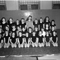 Image of Mrs. McCarthy's class, Lab School Gym - Bemidji Lab School, Mrs. McCarthy's class. Gym. May 5, 1960.