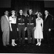 Image of Eagle Scouts, John Wrolstad and ?, Wrolstad and ? Family 1958 - Eagle Scouts, John Wrolstad and ?, Wrolstad and ? Family  Bemidji May 11, 1958