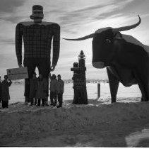 Image of Bemidji Jaycees Jan 1959 - Bemidji Jaycees Jan 1959 with Paul Bunyan Statue at Lakefront