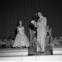 Image of Bemidji Jaycees Carnival 1959 - Bemidji Jaycees Carnival  14th Annual July 1959 -  Introducing Queen Candidate Regina Olson, representing Chester Berg Motors.
