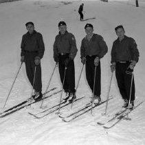 Image of Buena Vista Skiways, north of Bemidji. Feb 10, 1957 and March 3, 1957 - Buena Vista Skiways, north of Bemidji. Ski Patrol. Left to right: Tom Smatla, Dick Dickinson, Earle Dickinson, Roger Stubbins. Set of photos taken Feb 10, 1957 and March 3, 1957