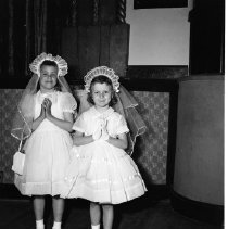 Image of First Communion, St. Philip's Church, Bemidji, 1959 - Mary Luoma Miller and Judi Fortier. First Communion, St. Philip's Church, Bemidji,  May 10, 1959