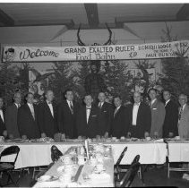Image of Elks Lodge Oct 23 1956 - Elks Lodge Bemidji Oct 23 1956. Includes Ira Batchelder