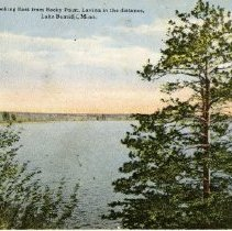 """Image of Looking East from Rocky Point Postcard - Postcard of Lavinia and Lake Bemidji showing the lake and some trees. Front reads: """"Looking East from Rocky Point, Lavinia in the distance, Lake Bemidji, Minn.  Writing on the back addressed to: Master Ken Morrison, Winnipeg, Canada."""